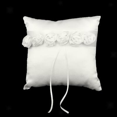 Satin Ribbon Ring Bearer Pillow with Ivory Roses Decor for Wedding