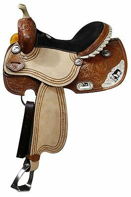 "16"" Double T Barrel Style Saddle With Praying Cowboy on Silver Skirt Corners!"
