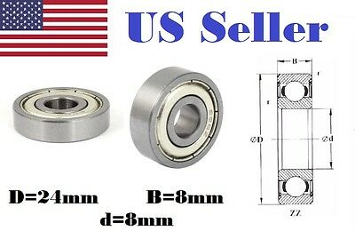 2PCs NEW 8x24x8mm 628zz Metal Shielded Ball Bearing Bearings