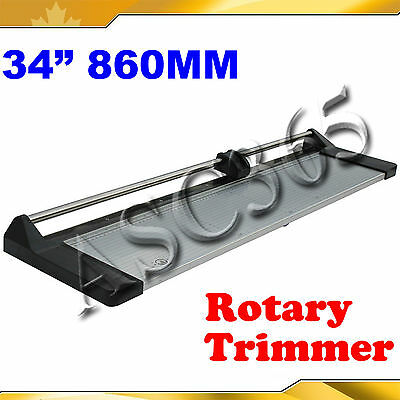 "34"" Safety Rotary Paper Cutter Portable Trimmer One Plastic Ruler&Extra Blade"
