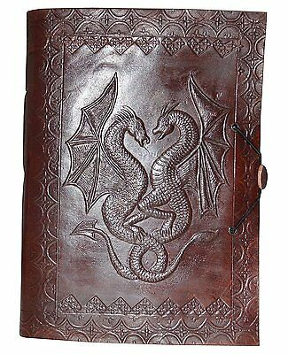 Zap Impex HANDMADE Double Dragon LEATHER JOURNAL DIARY TRAVEL BOOK Photo Album-
