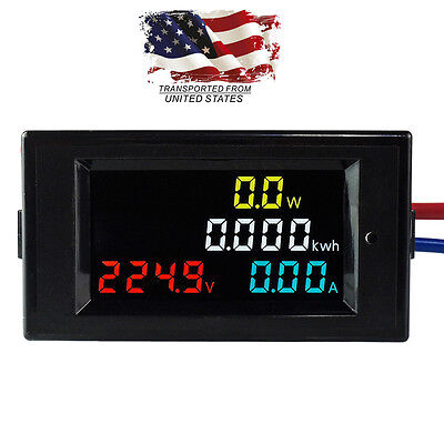 AC 80-300V LCD Digital Combo Panel Display Volt Amp Power Kwh Meter 100A CT US