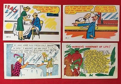 4 VINTAGE LAFF GRAM BAXTONE POSTCARDS In Good Condition