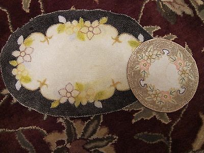 TWO (2) Vintage Dollhouse Miniature Round~Oval Hand Hooked Silk Rugs Victorian