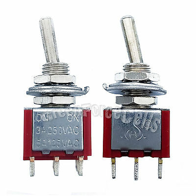 100pcs High Quality 3 Pin SPDT ON-ON 2 Position Mini Toggle Switches MTS-102 Red