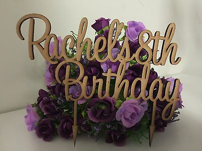 Personalised Birthday Cake Topper- Raw Mdf BIRTHDAYS