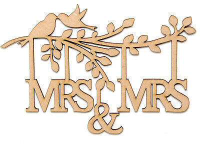 Wooden MDF Tree Branch Shape MRS & MRS Family Tree Branch Wedding with Birds