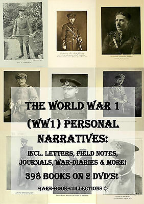 WORLD WAR 1 - SOLDIERS LETTERS DIARIES PERSONAL RECORDS - 398 BOOKS - 2 DVDs WW1