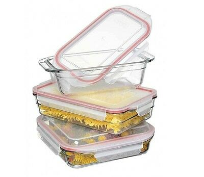 Glasslock 3 piece Microwave Oven Safe Food Storage Container Set 28063