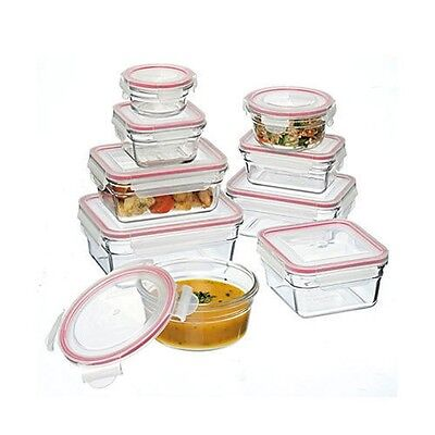 Glasslock 9 Piece Microwave Oven Safe Food Storage Glass Container Set 28060