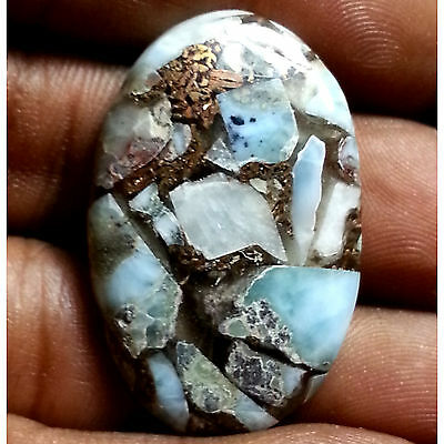31.06 Ct Natural New Copper Larimar Awesome Oval Cab Loose Untreated Gemstones
