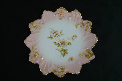 Singer & Co Austria Flower Plate With Hand Colored Flowers Circa 1890 - 1918