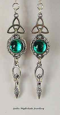 Moon Goddess Triquetra Earrings with 925 Sterling Silver Ear Hooks Pagan Wicca