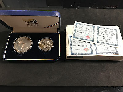 1988 Seoul Olympic Games -South Korea 2 Coin Silver Proof Set (Soccer & Peng-Ee)