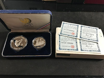 1988 S.korea Seoul Olympic Games 2 Coin Silver Proof Set (Diving & Tug Of War)
