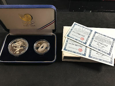 1988 S.korea Seoul Olympic Games 2 Coin Silver Proof Set (Volleyball & Stadium)