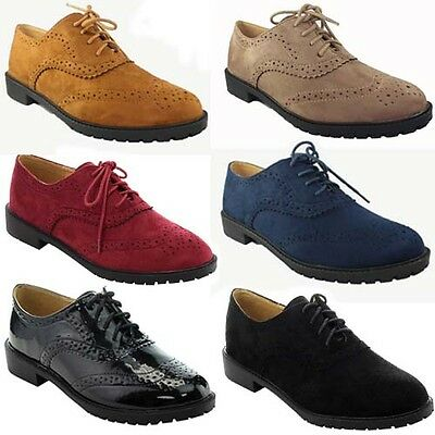 NEW Casual Oxford Women Dress Lace Up Low Heel Platform Suede WingTip Lady Shoe
