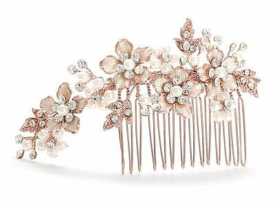 Mariell Handmade Brushed Rose Gold and Ivory Pearl Wedding Comb - Crystal Bridal