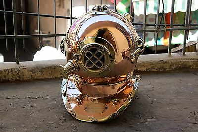 Nautical U.S Navy Mark V Solid Copper & Brass Diving Divers Helmet Full Size