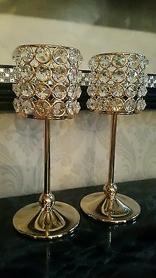 Pair candlesticks gold  crystal  glass