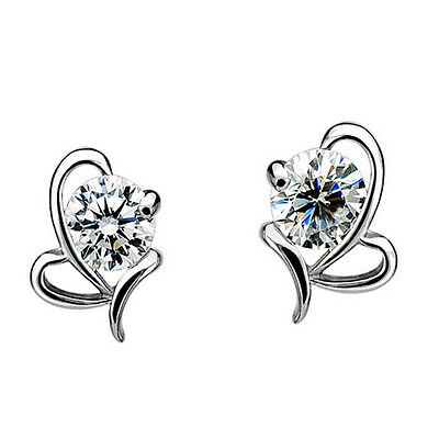 Jewelry New Ladies HOT Small Fashion Stud Earrings Heart Shape Silver Plated