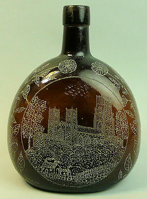 Antique Finely Engraved Brown Glass Whisky Bottle C.1920