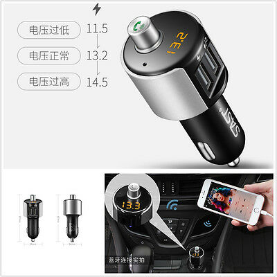 12V T56 Wireless Bluetooth Handsfree Kit Car Truck Music MP3 Player 2USB Charger