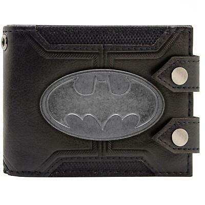 New Official Dc Batman Badge Double Buttoned Black Id & Card Bi-Fold Wallet