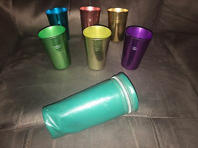 Vintage Set Of Six Coloured/colourful Aluminium Cups In Case