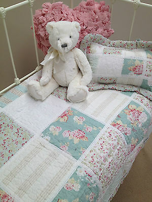 2 pce Hannah Girls Shabby Chic Floral Baby Nursery Bedding Cot Quilt  & Cushion