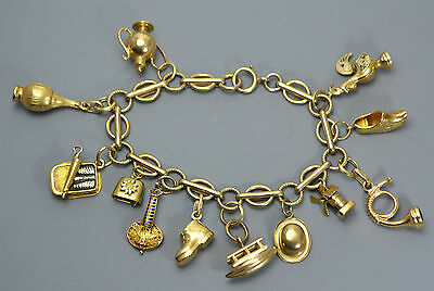 Vintage 9k GOLD Unusual Charm Bracelet with 18ct & 19ct PORTUGUESE GOLD CHARMS