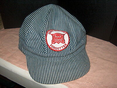 """Railroad Cap """"rock Island"""" Gone But Not Forgotten Used But Not Abused One Size F"""