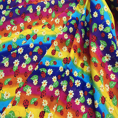 Cotton Quilt fabric Print fabric (Rainbow and floral)per meter