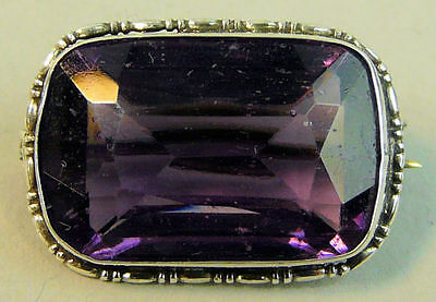 A Fine Victorian Antique Silver (Tested) Amethyst Set Brooch C.1880
