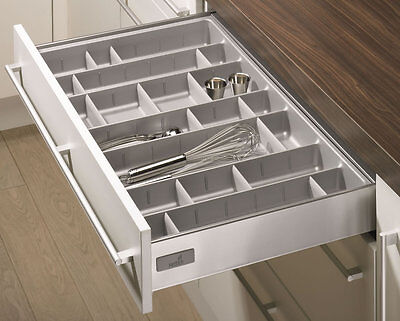 Hettich Cutlery Trays With Adjustable Dividers, Silver Finish, Suits InnoTech