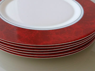 """Set of 6 Arcoroc France Red /White/Gold Classique 12"""" Dinner Plates Rare"""