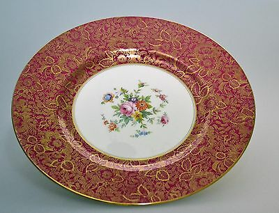 Dinner Plate in Brocade red by Minton Teller 27,3 cm Platte rot gold