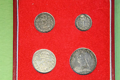 Queen Victoria 1895 Maundy Silver Coin Set In Modern Presntn Box Nice Collection