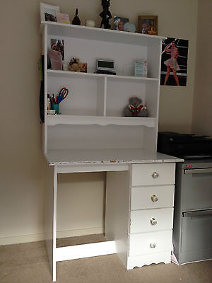 White Desk with Hutch (and 4 drawers)