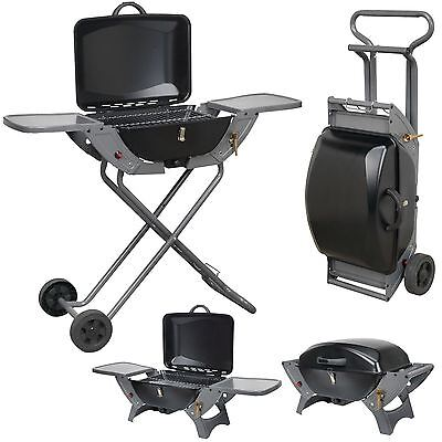 Crusader Portable Gas BBQ With Folding Trolley Stand Table Top Camping Caravan
