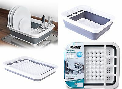 Dish Drainer Board Beldray Collapsible Space Saver Plastic White & Grey NEW