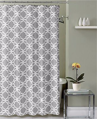 Gray White Embossed Fabric Shower Curtain: Chain Link Geometric Design w/ Hooks