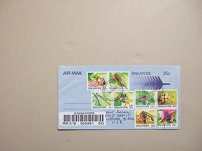 Singapore registered aerogramme with set of eight INSECT stamps