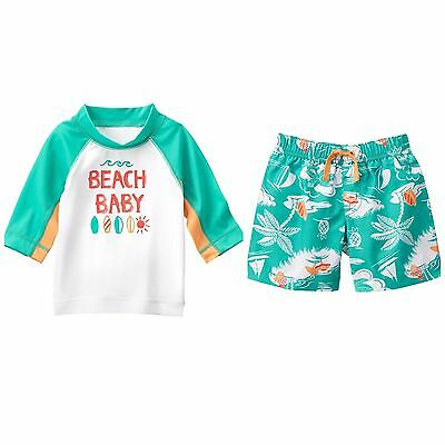 NWT Gymboree SEASHORE SMILES Baby Boy 12 18 24 Months Beach Baby Rash Guard Set