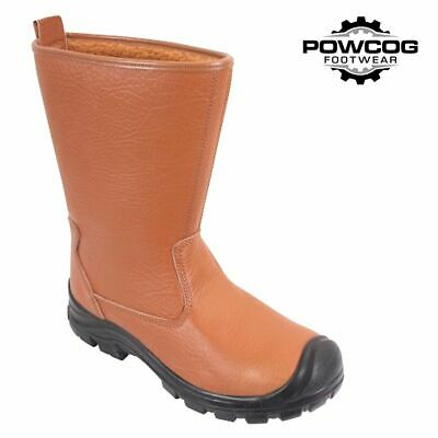 Rigger Safety Work Boots Fur Lined Steel Toe Cap Leather Mens Size 6-13 Tan