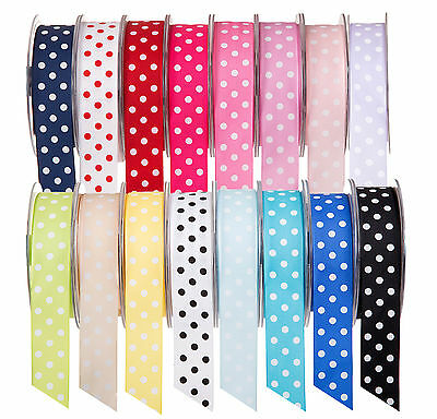 Full Reel 20 Metre Polka Dot/Spotty Satin Ribbon 10mm 25mm 38mm Various Colours