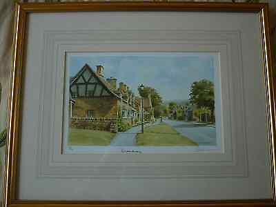 "signed framed limited edition print by Peter Annable. ""BROADWAY"" Cotswolds Worce"