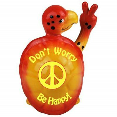 """4.25 Inch Orange """"Dont Worry Be Happy"""" Turtle Collectible Figurine"""