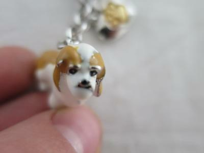 Little Gifts Keychain Ring Cocker Spaniel Dog Enameled 4 Charms Heart Bone Bowl
