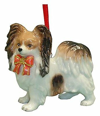 Cute Christmas Holiday Papillon Dog Ornament Statue Figurine Figure